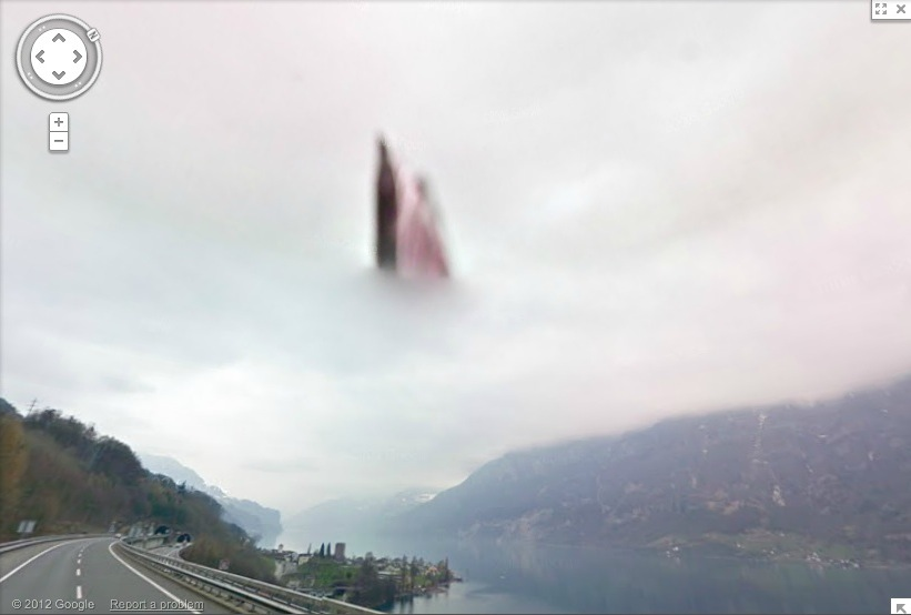 Picture of What did Google Maps cameras discover over a lake in Switzerland?