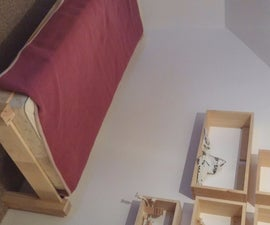 Kids Wood Bed and Shelves From Pine