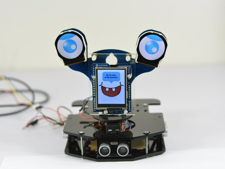 Picture of Arlo: Motion Sensing Robot Featuring 4Duino-24 and ULCD