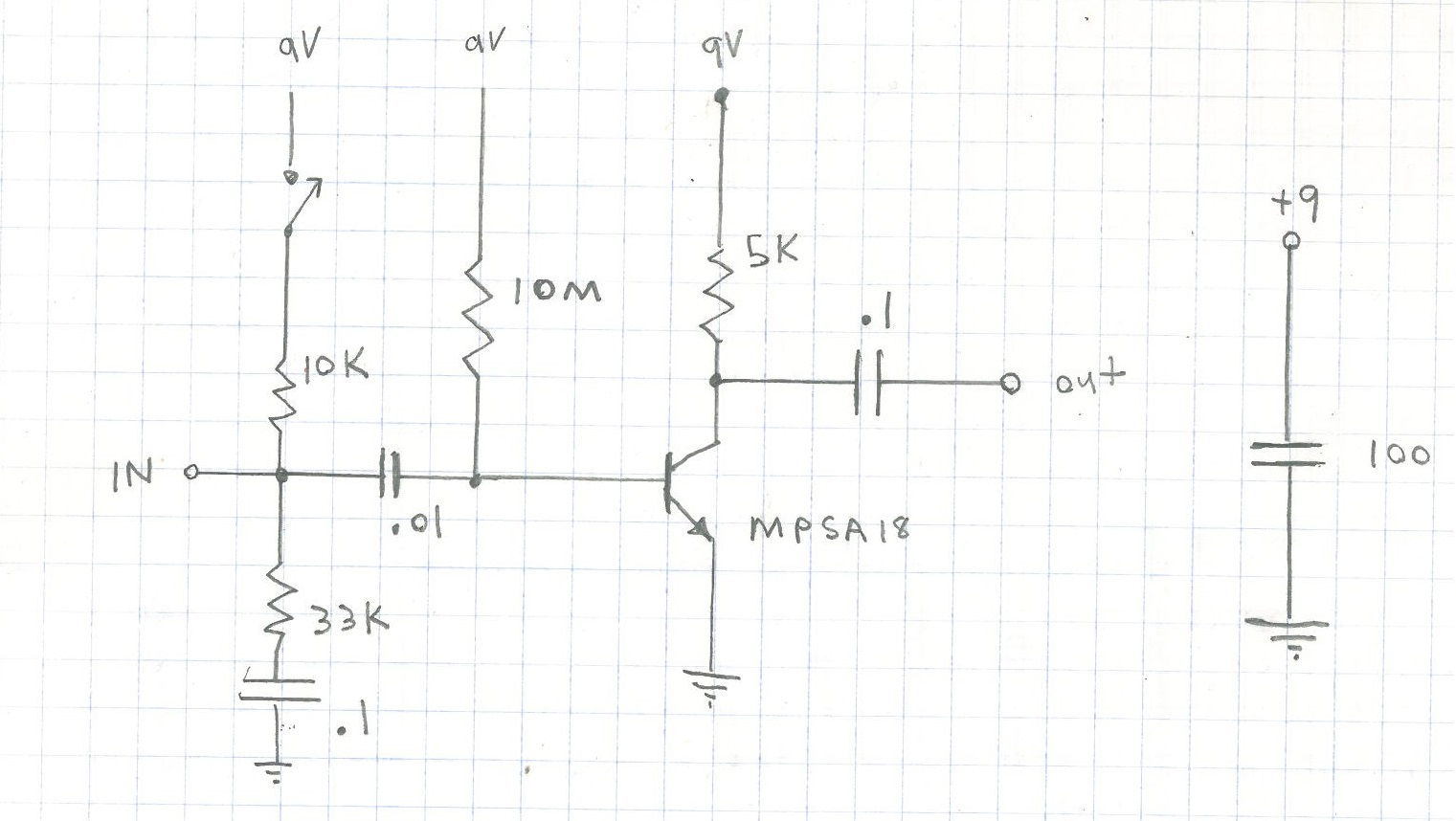 Picture of MPSA18 Single Transistor Preamp. High Gain