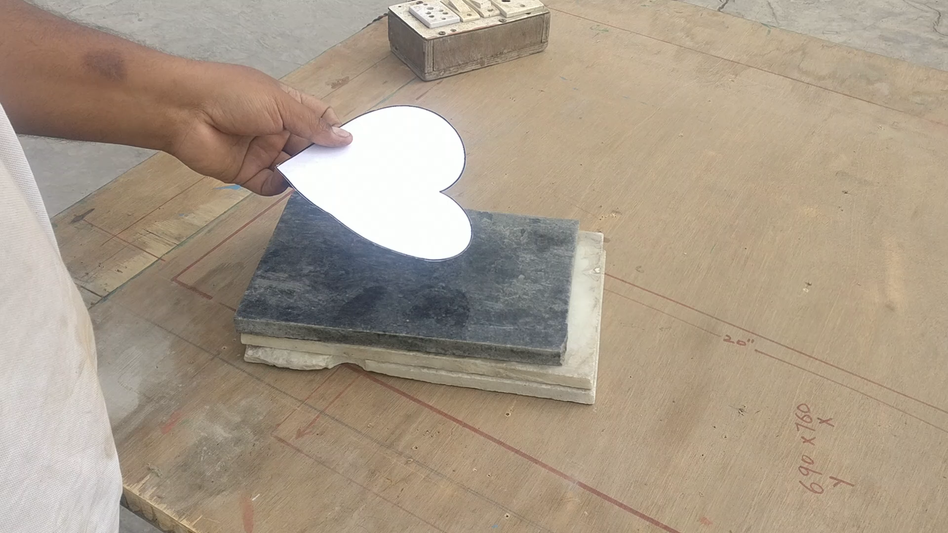 Picture of Cutting of Heart Shape on Marble