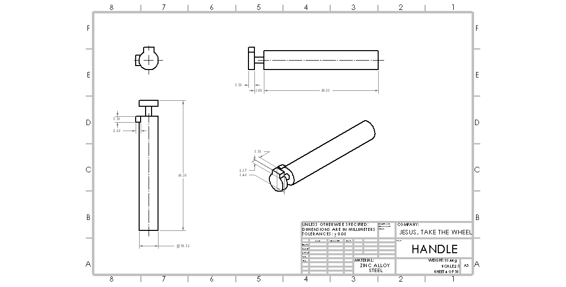 Picture of Designing the Handle (Key) in Solidworks