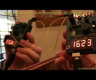 Digital Clock With Automatic Rotation of LED Display