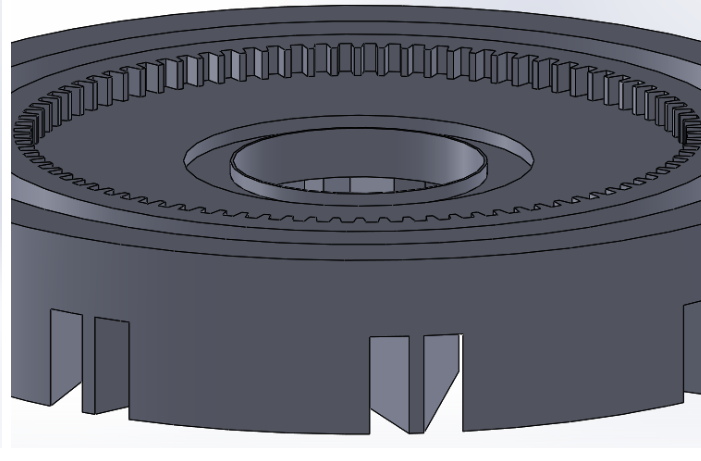 """Picture of Sketch Two Circles With Diameter 34.96mm and 35.76mm and """"Extrude Base"""" the Space Between Them to Create a Barrier in the Center of the Gear"""