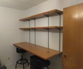 Repurposed Doors - Folding Double Desk W/Shelves