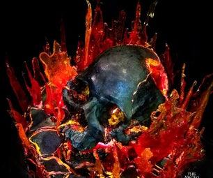 Flaming Skull Cake