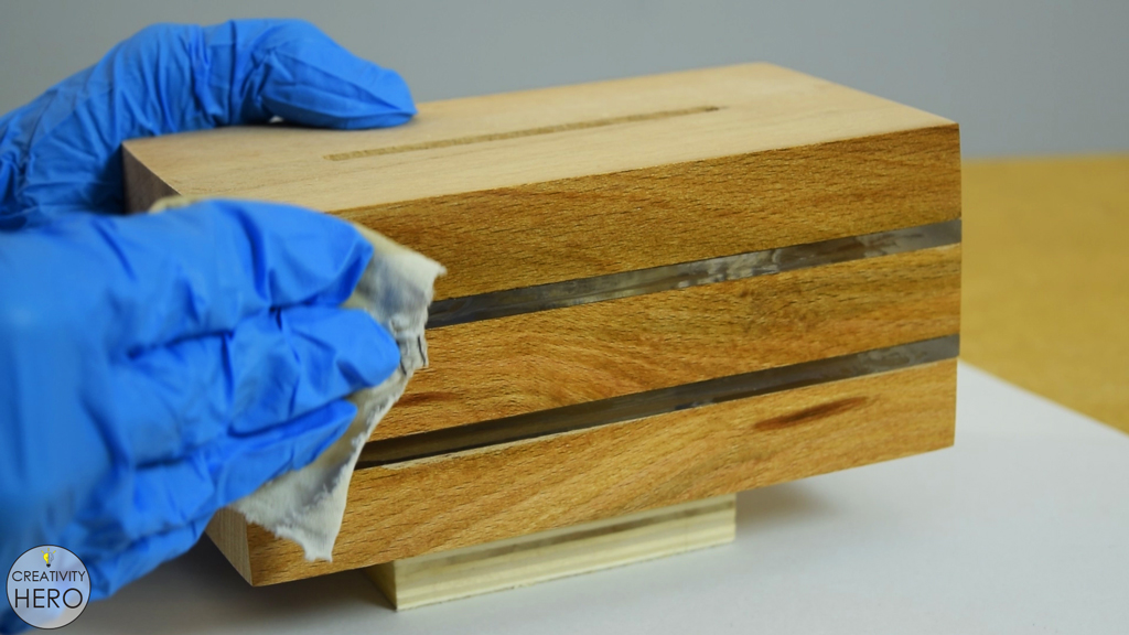 Picture of Sanding and Staining the Base.