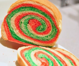 Color swirl sandwich bread