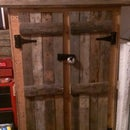 Repurposed pallets into gun cabinet