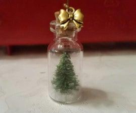 TINY CHRISTMAS TREE FOR MINI GLASS BOTTLES / DRY SNOW GLOBE