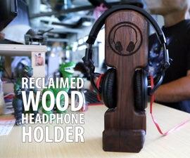 reclaimed wood headphone holder