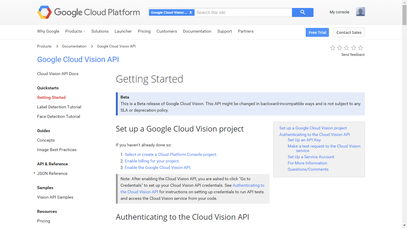 Picture of Get a Google Vision API Key