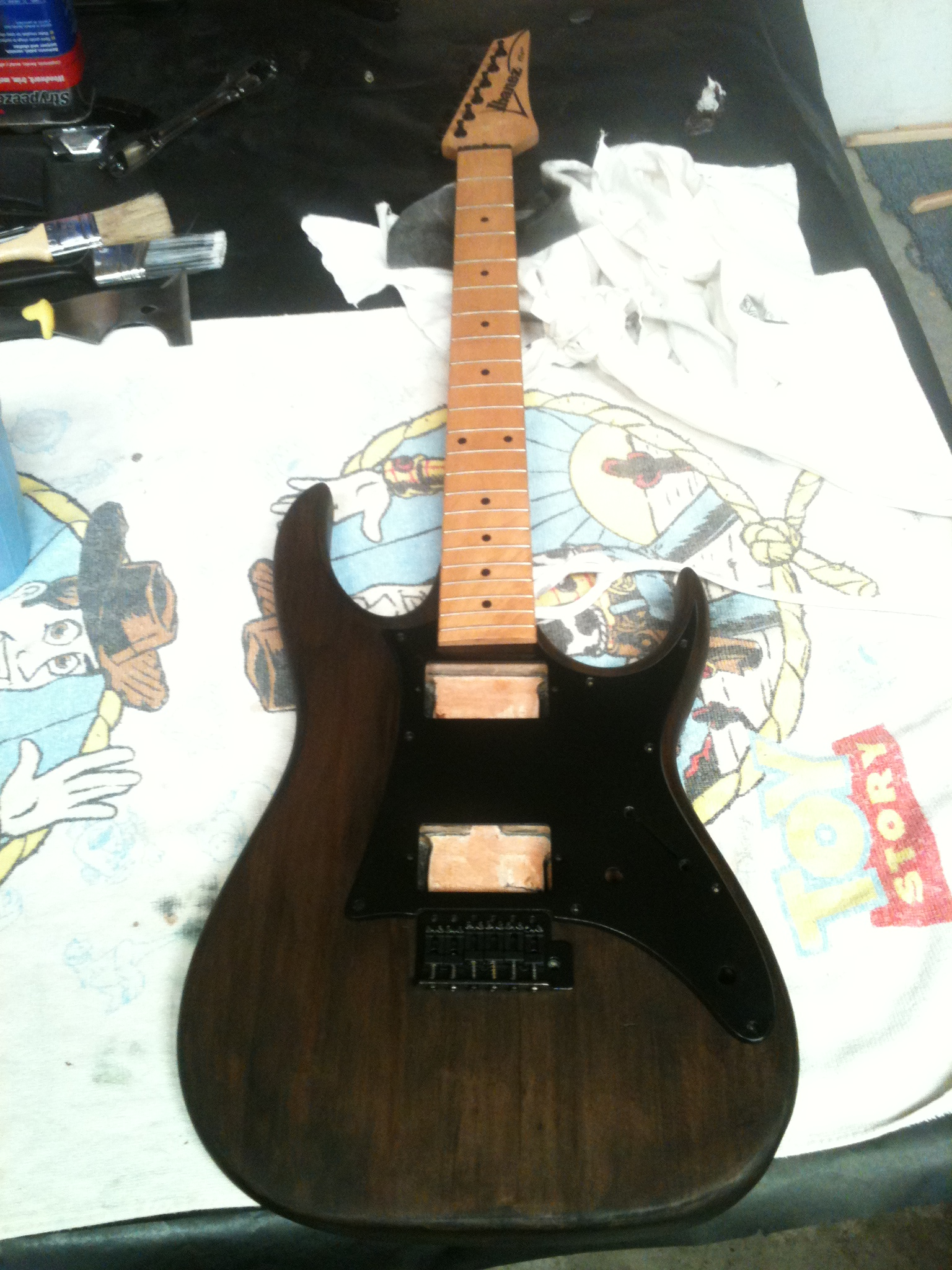 Picture of My Guitar That I Stripped, Sanded, and Stained