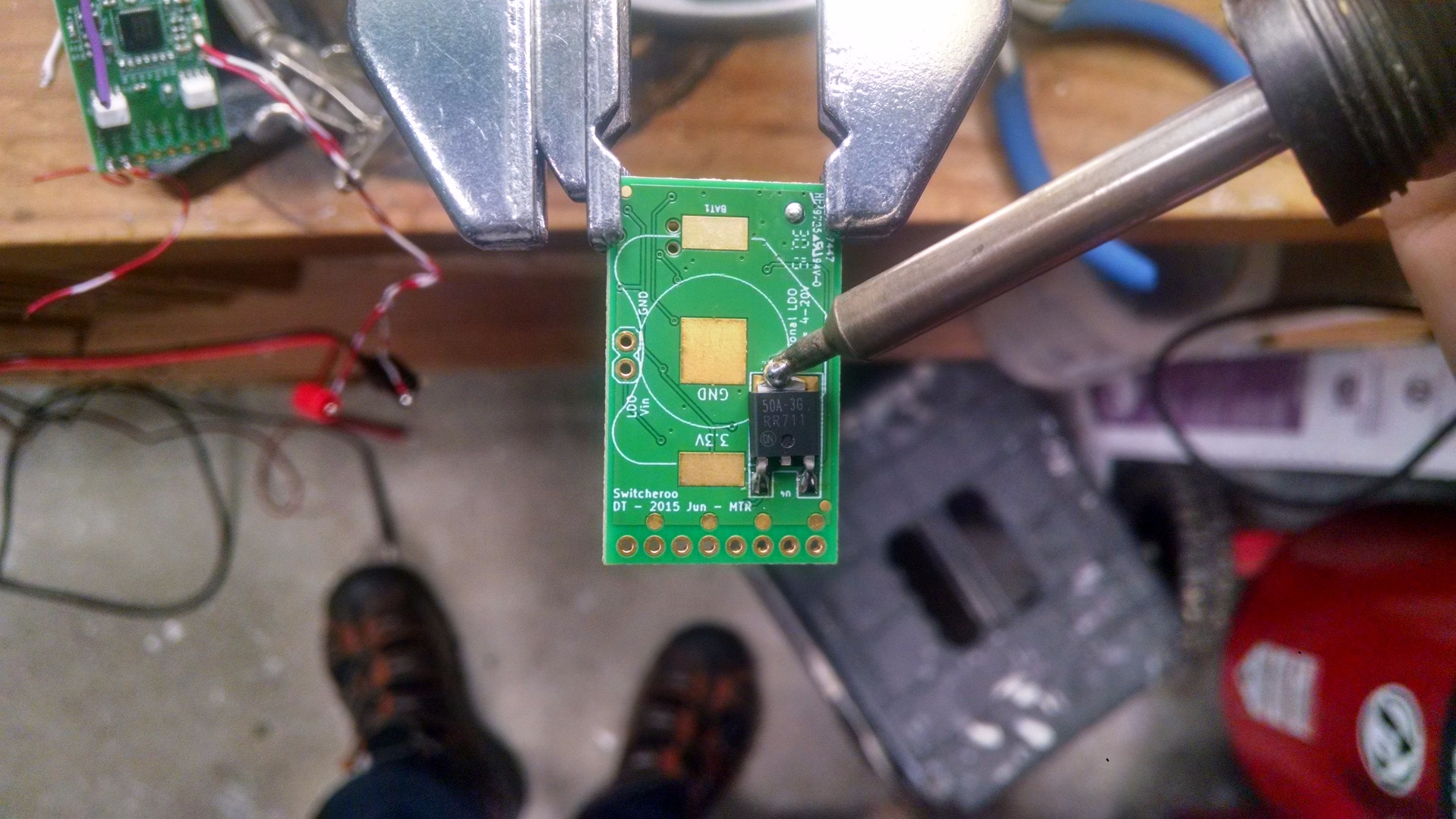 Picture of Soldering the 3.3v Regulator to the Switcheroo
