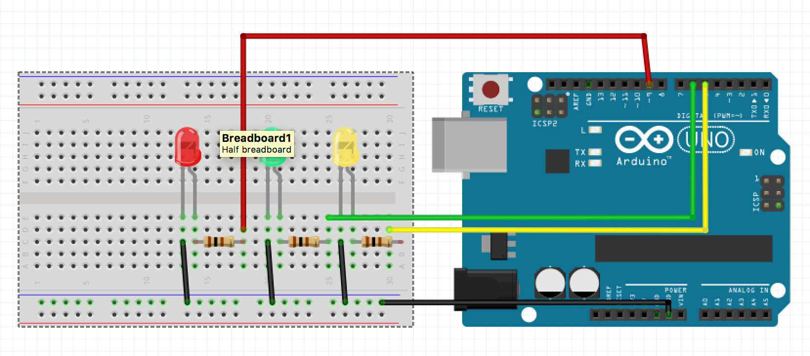 Picture of Connecting the LEDs to Arduino