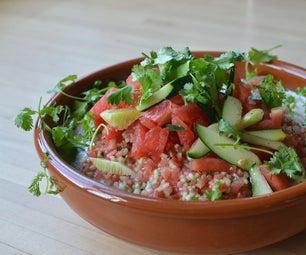 Watermelon Salad With Ajo Blanco (Spanish White Gaspacho) and Kombucha