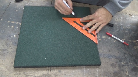 Picture of I Keep Cutting the Rubber, Making a Hole 20 X 20 in the Center.