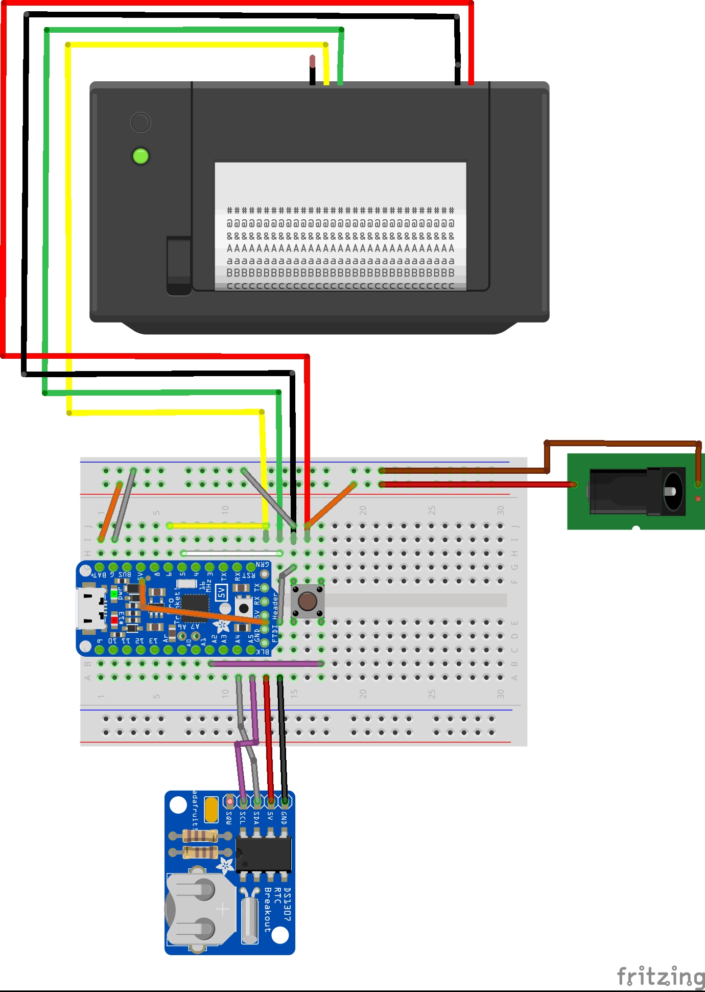 Picture of Step 3: Test Printer, Build the Circuit on a Bread Board