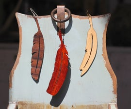 Wooden Feather Earings