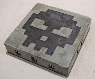 The 8-Bit Skull Concrete USB Hub