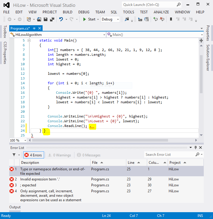 Picture of Visual Studio: Compile the Program