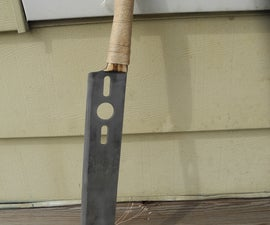 Lawn Mower Blade Knife and Wooden Handle and Sheath
