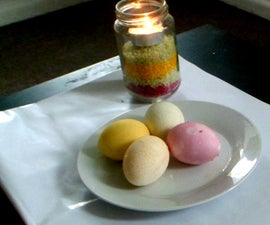 Rainbow egg dyeing with colored rice