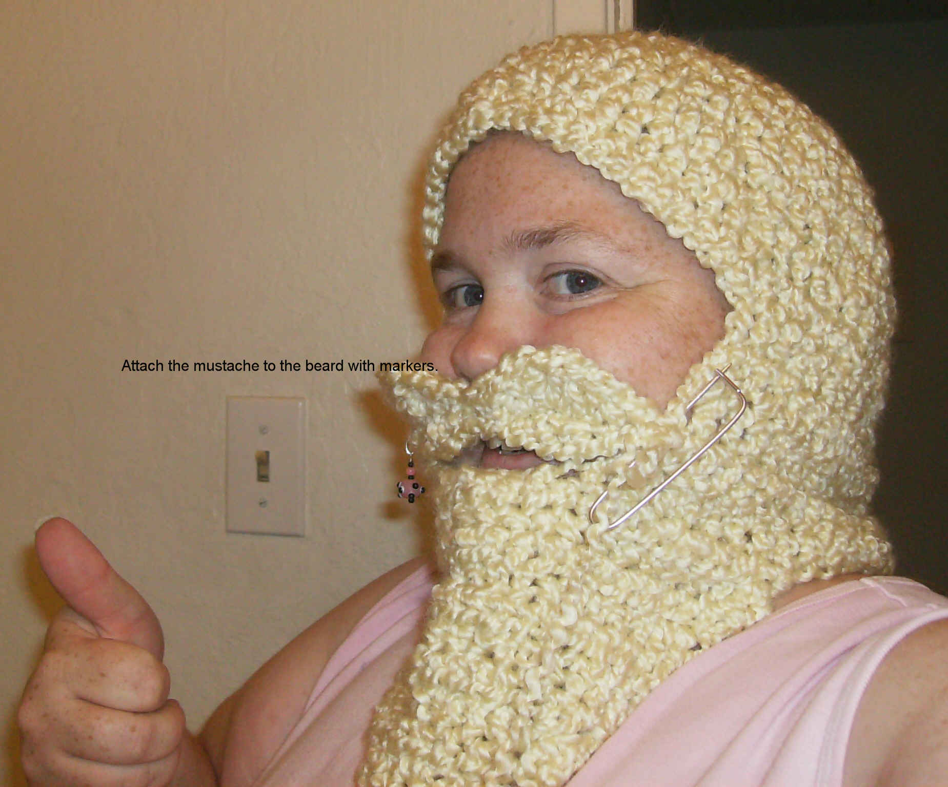 Picture of Trying the 'Beard' on for Size and Sewing the 'Stache On