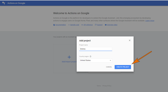Create Your Actions on Google Project