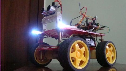 Adding the HCSR04 Ultrasonic Module and Headlights
