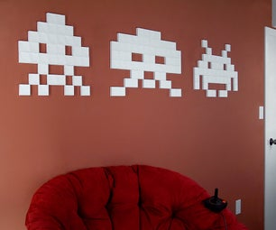 Giant 3-D Papercraft Space Invaders