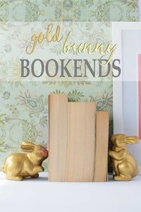 DIY Gold Bunny Bookends