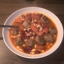 Bean stew with chorizo and meatballs