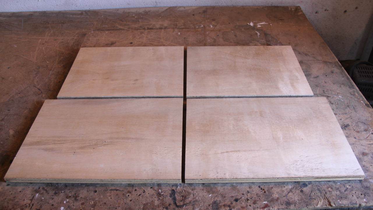 Picture of Measuring and Cutting the Plywood.