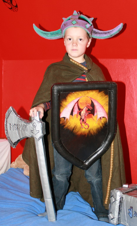 Picture of Happy Kids With There Battle Axe.