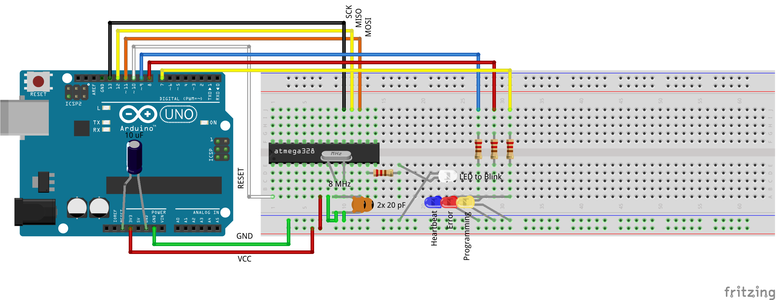 Connecting Your ArduinoISP Programmer to Your AVR