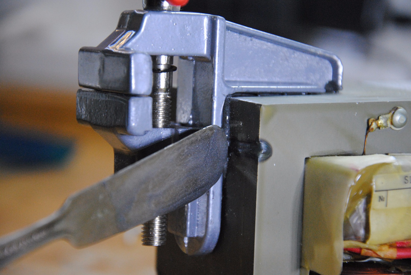 Picture of Glue the Vise to the Transformer W/ Epoxy