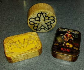 Matchwork tins and boxes.