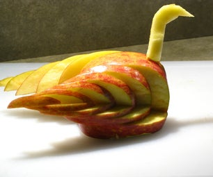 Swan Carved From an Apple
