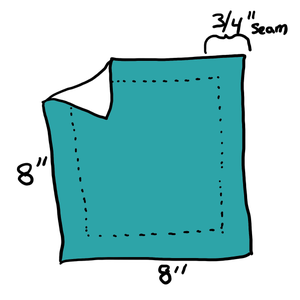 "Diagram: 8"" Square With 3/4"" Seam Allowance."