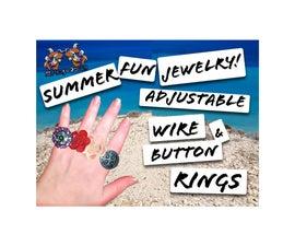 Fun Summer Adjustable Wire Button Ring