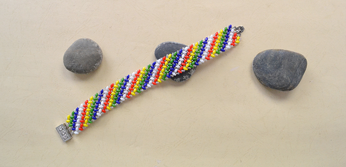 Picture of Here Is the Final Look of the Handmade Rainbow Beaded Bracelet.