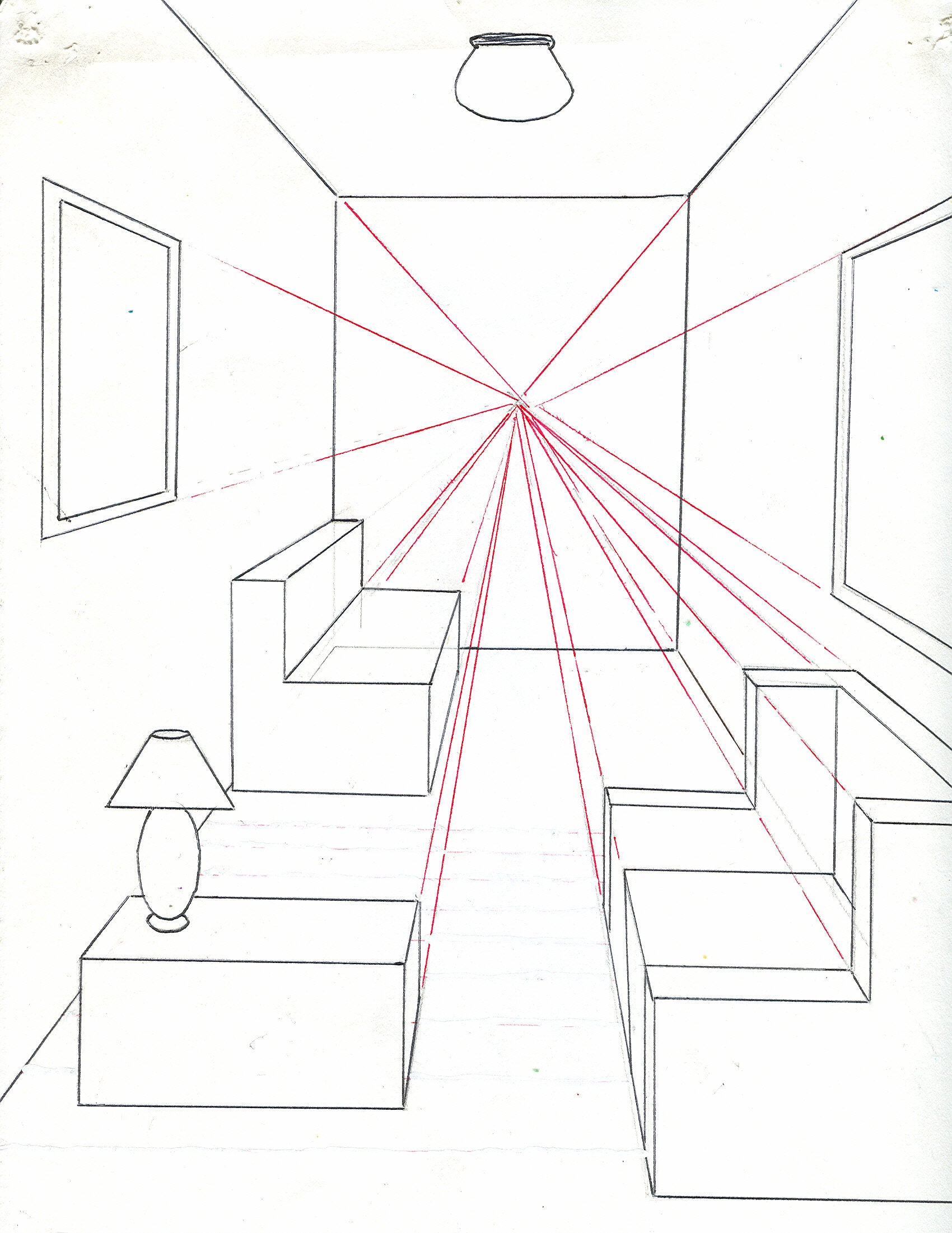 How To Draw A Room Using One Point Perspective 11 Steps Instructables