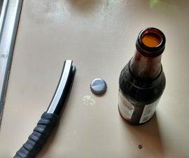 Bike rim bottle opener