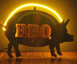 Neon Pig BBQ Sign