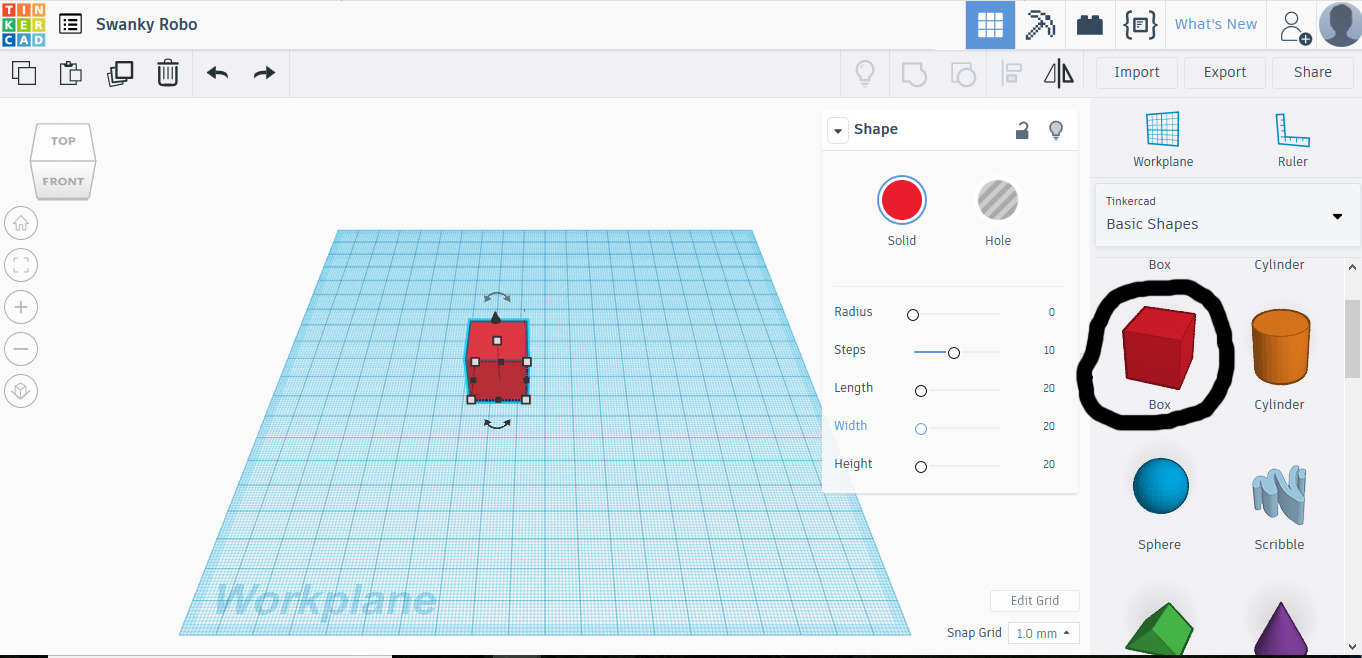 Picture of Starting on Tinkercad