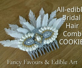 All Edible Bridal Hair Comb Cookie - With 2 Different Types of Edible Feathers