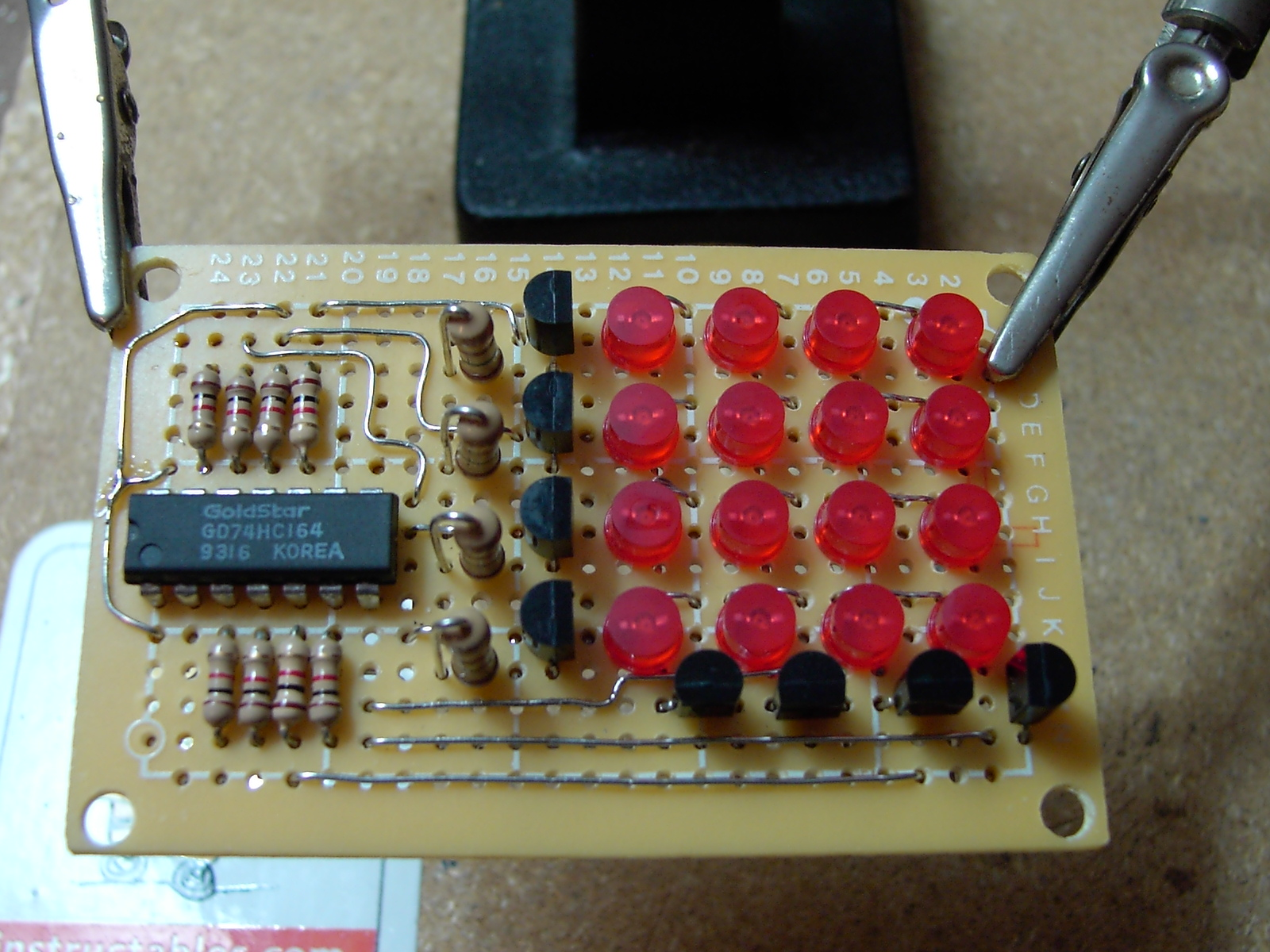 Picture of Project 3[pt 1]: '2 Wire' 4x4 Led Matrix Display