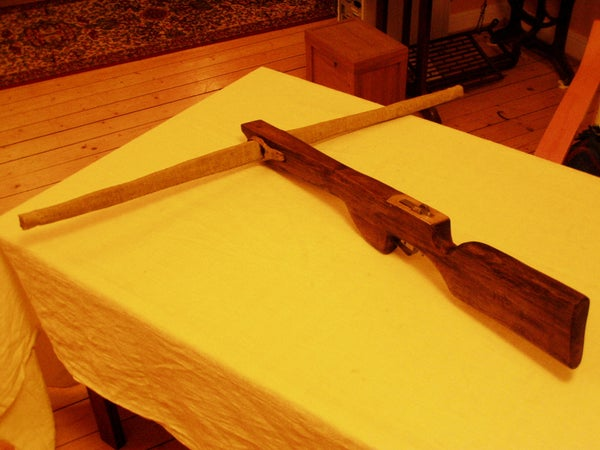 Crossbow With Wooden Stock and Rattan Bow