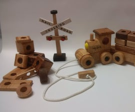 THREE-IN-ONE Wooden Building Block Train Set